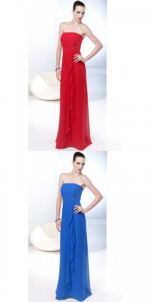 Bridesmaid Dresses - A-line Strapless Dropped Chiffon Bridesmaid Dresses Nz https://www.udressme.co.nz/ball-dresses.html