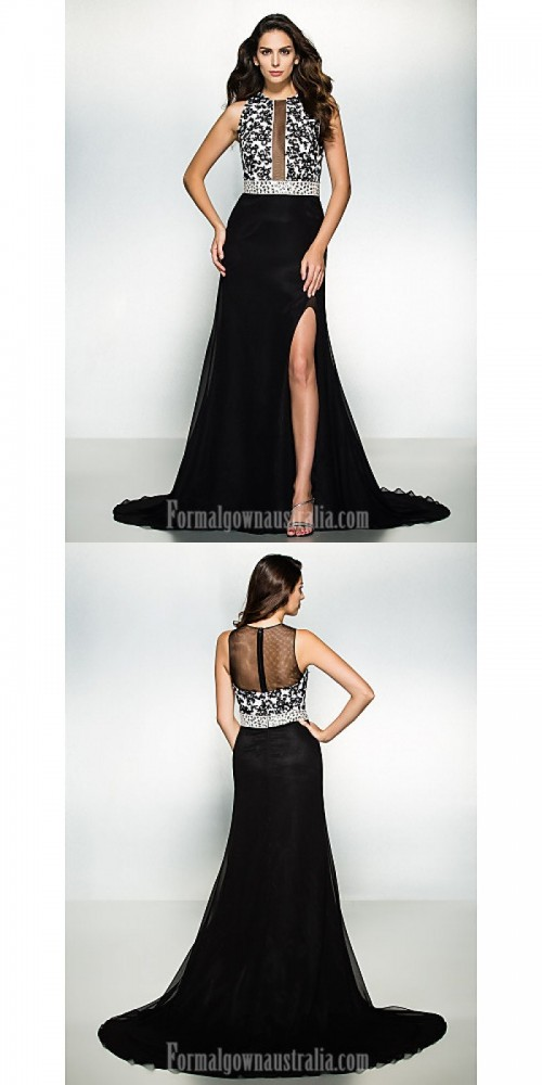 Australia Formal Evening Dress Black A-line Jewel Court Train Chiffon Lace https://www.formalgownaustralia.com/semi-formal-dresses.html