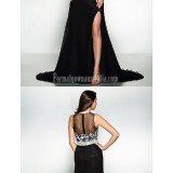 Australia-Formal-Evening-Dress-Black-A-line-Jewel-Court-Train-Chiffon-Lace