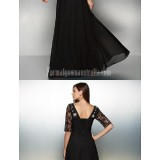 Australia-Formal-Evening-Dress-Black-A-line-Scoop-Long-Floor-length-Chiffon-Lace