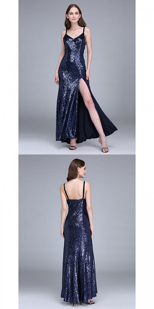 Bridesmaid Dresses - Ankle-length Sequined Bridesmaid Dress Sheath Column Spaghetti Straps with Split Front https://www.udressme.co.nz/