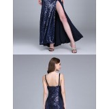 Bridesmaid-Dresses---Ankle-length-Sequined-Bridesmaid-Dress-Sheath-Column-Spaghetti-Straps-with-Split-Front