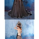 Australia-Formal-Evening-Dress-Black-A-line-Strapless-Chapel-Train-Satin