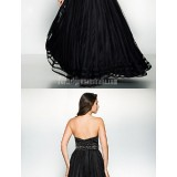 Australia-Formal-Evening-Dress-Black-A-line-Sweetheart-Long-Floor-length-Organza-Satin